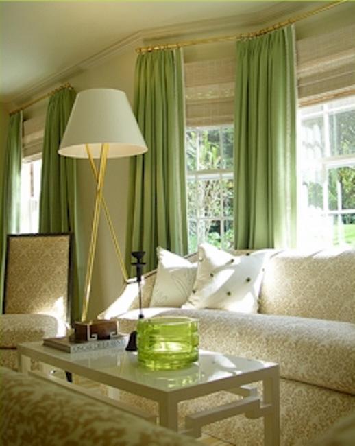A nappali világos zöld színű kialakítása. Eredeti színkombinációk ...
